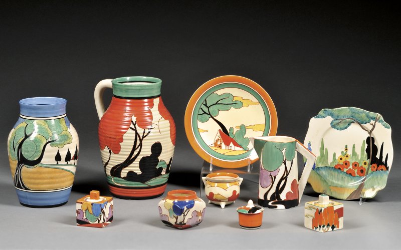 Lot 160 ten clarice cliff decorated pottery items staffordshire