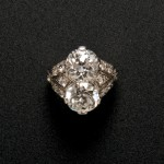 Art Deco Platinum and Twin-stone Diamond Ring (Lot 546, Estimate   $25,000-$35,000)