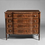 Federal Mahogany Carved and Wavy Birch Inlaid Chest of Drawers, Portsmouth, New Hampshire, c. 1810-20 (Lot 280, Estimate $8,000-$12,000)
