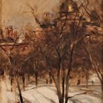 Frank Duveneck (American, 1848-1919), Boston Common in Winter (Lot 421,   Estimate $10,000-$15,000)