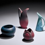 Three Van Briggle Art Pottery Vases and an Unmarked Pottery Vase (Lot 1116,   Estimate $100-$150)