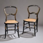 Pair of Victorian Black-painted, Gilt-decorated, and Mother of Pearl-inlaid Cane   Seat Side Chairs (Lot 870, Estimate $150-$250)