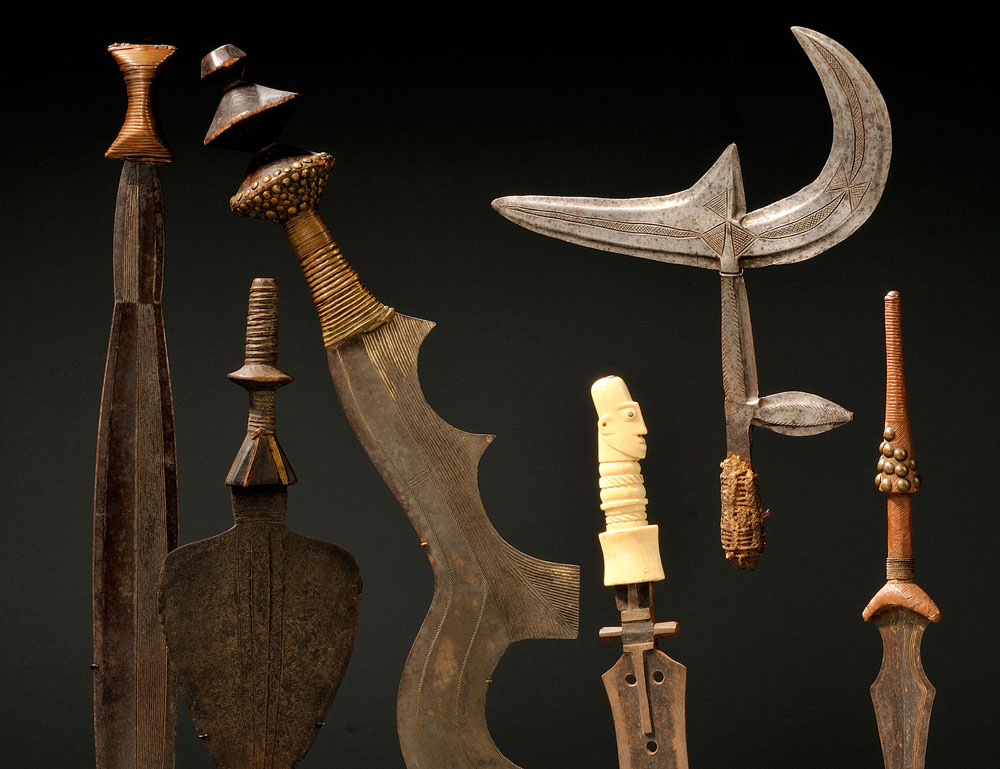 A collection of African weapons