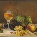 American School, 19th Century Still Life with Wine and Fruit on Marble-topped   Table (Lot 1010, Estimate $500-$700)