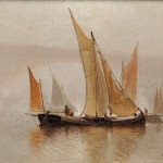 Charles Henry Gifford (American, 1839-1904), Boats Sailing Near a Bridge in   Fog (Estimate $800-$1,200)
