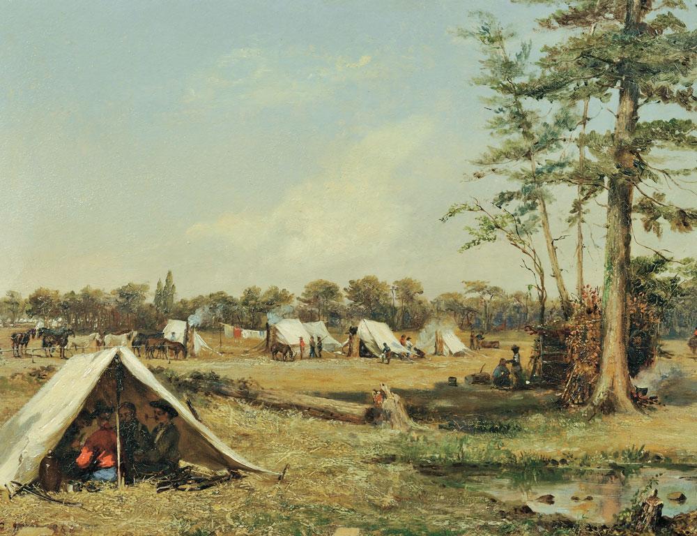 Conrad Wise Chapman (American, 1842-1910), Cavalry Camp of the So. Ca. Holcomb Legion, New Kent, Co. Va. Mar., 1863 (Lot 623, Estimate $400,000-$600,000)