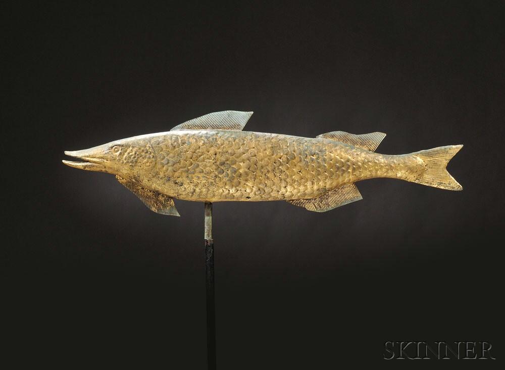 Molded Gilt Copper Fish Weathervane, America, early to mid-20th century (Lot 334, Estimate $4,000-$6,000)