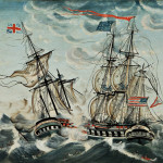 [Detail] The capture of the American frigate USS President by HMS Endymion, January 14, 1815.  (Estimate $30,000 - $50,000)