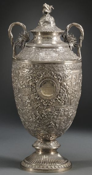 Chinese Export Silver Trophy Urn