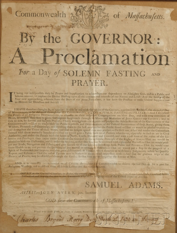 Thanksgiving Broadside issued by Samuel Adams, February 29th, 1796, Auctioned for $2,725.50