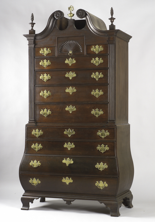 American Antique Furniture | Chippendale Mahogany Bombe Chest-on-Chest - American Antique Furniture Chippendale Mahogany Bombe Chest-on