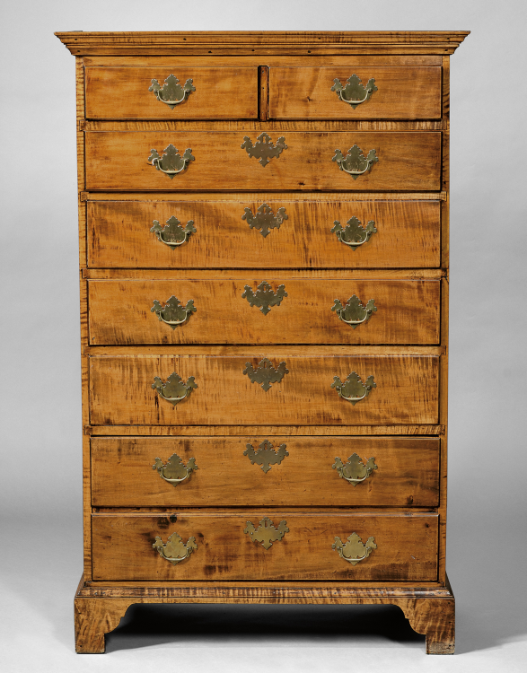 Beau Antique Wooden Furniture | Tiger Maple Tall Chest