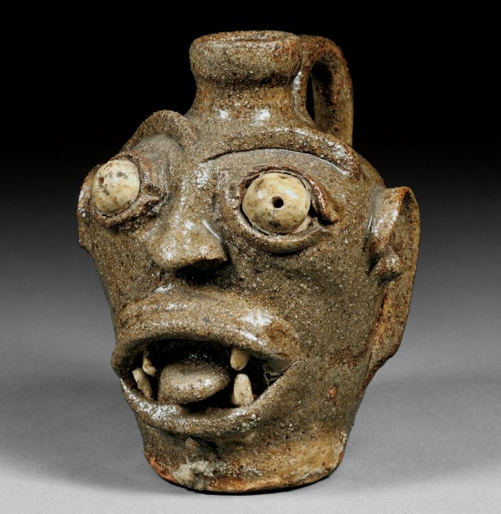 American Pottery | Grotesque Face Jug