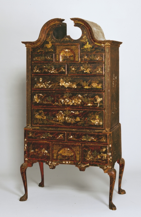 Sold for $1,876,000. Rare Queen Anne Japanned Maple and Pine High Chest of  Drawers. - American Furniture Looking Back On Four Centuries Of Antique