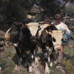 Lot 346: Heinrich Johann von Zügel (German, 1850-1941), Farmer with Cows, Estimate $15,000-$25,000
