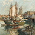 Lot 484: Frederick John Mulhaupt (American, 1871-1938),   Evening Glow, Gloucester Harbor, Estimate $30,000-$50,000