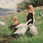 Lot 538: Alexander Max Koester (German, 1864-1932), Children   and Geese in a Lakeside Meadow, Estimate $50,000-$70,000