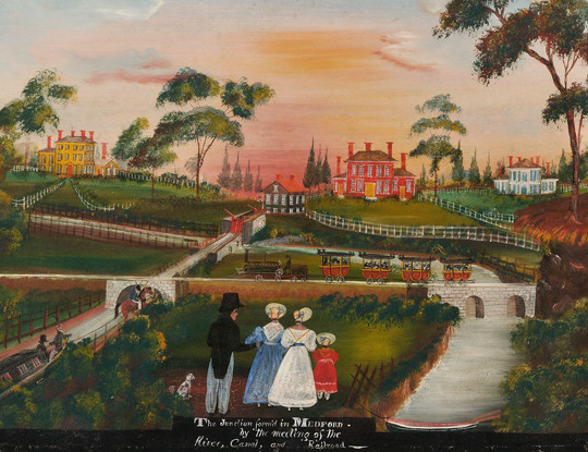 """American School, 19th Century """"The Junction formed in Medford by the Meeting of the [Mystic] River, Canal, and Railroad"""" (Lot 68, Estimate $20,000-$30,000)"""