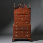 Chippendale Cherry and Maple Carved Scroll-top Chest-on-chest, possibly Connecticut River Valley, late 18th century (Lot 191, Estimate $3,000-$5,000)