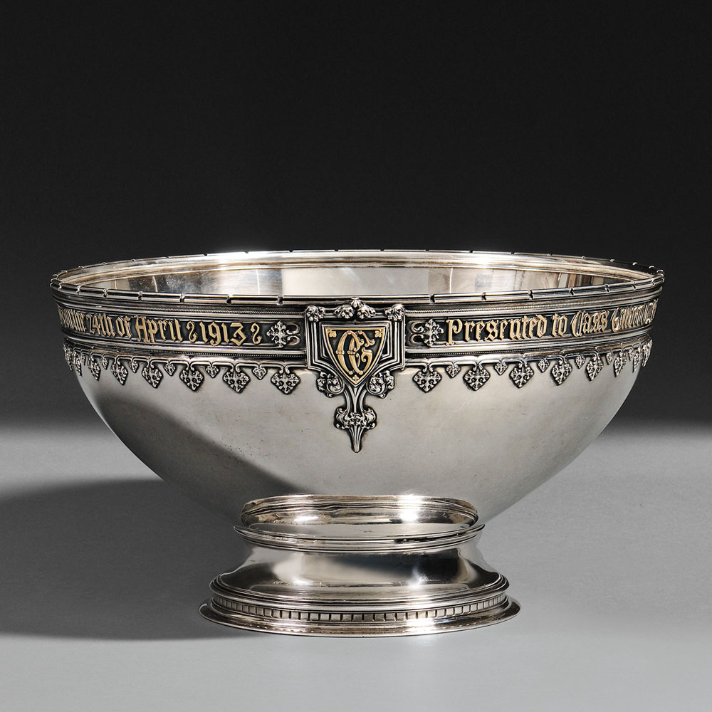 Sterling silver presentation punch bowl commemorating the for The sterling