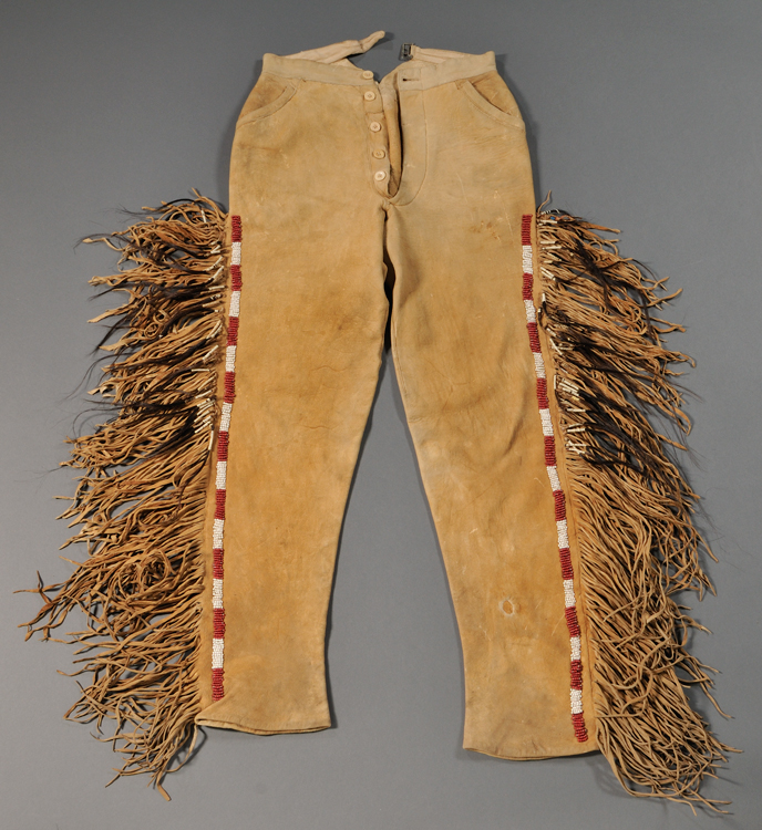 Rare pair of pony beaded hide trousers