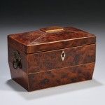 Inlaid Burlwood Veneer Tea Caddy (Lot 423, Estimate $200-$400)