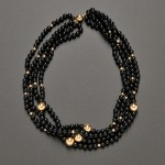 Four-strand Onyx and 14kt Gold Bead Necklace (Lot 398, Estimate $200-  $400)
