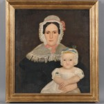 19th Century American School Oil on Canvas Portrait of Angelina Pattison   Kirkham and Baby (Lot 610, Estimate $400-$500)