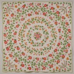 Pieced and Appliqued Cotton Quilt with Floral Wreath Design, America,   late 19th century (Lot 645, Estimate $600-$800)