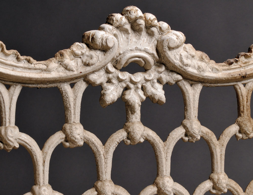 [Detail] White-painted Rococo-style Cast Iron Garden Settee (Lot 835, Estimate $400-$600)