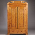 Classical Tiger Maple Wardrobe Cabinet with Two Paneled Doors, Ohio (Lot   985, Estimate $800-$1,200)
