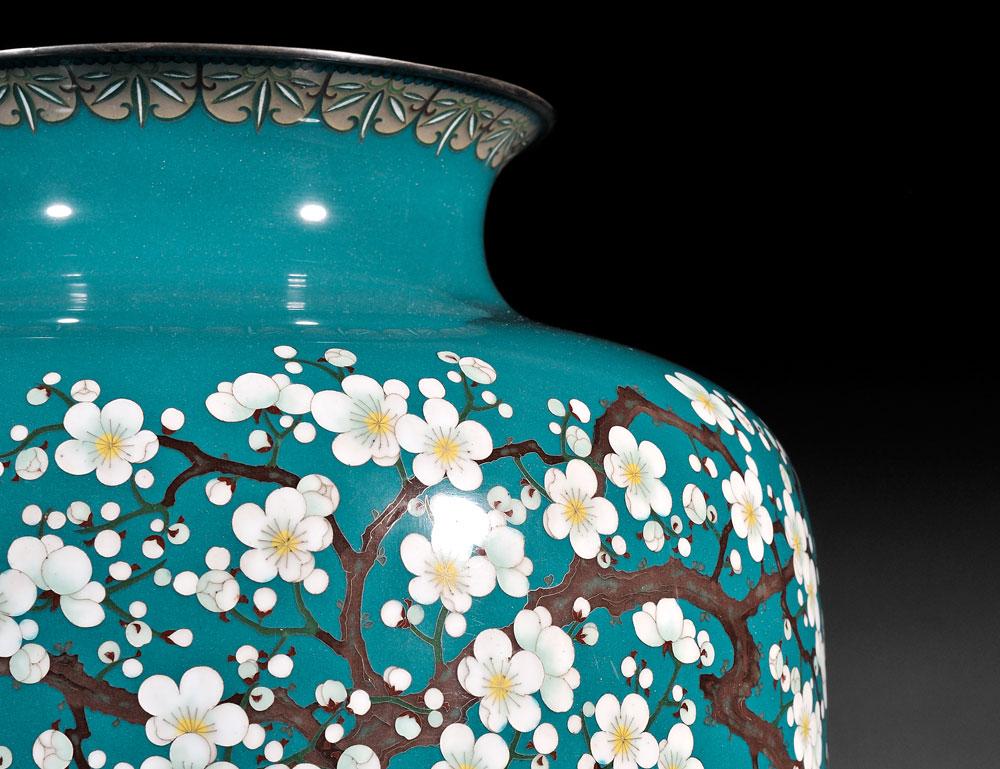 [Detail] Ando Jubei (1876-1953), Cloisonne Enamel Vase, Japan, c. 1900 (Lot 141, Estimate $20,000-$30,000)