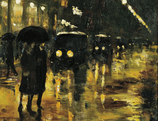 [Detail] Lesser Ury (German, 1861-1931), Rainy Night, Berlin, c. 1920s (Lot 484, Estimate $80,000-$120,000)