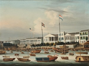 China Trade School, 1830-1835, The Waterfront Hongs at Canton, China