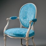 Louis XVI-style Upholstered Carved and Painted Wood Fauteuil (Lot 586,   Estimate $400-$600)