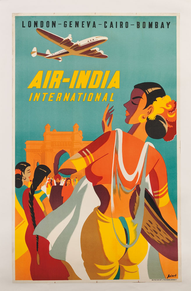 Asiart Air India International Travel Lithograph Poster Lot 62 Estimate 200 300