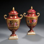 Pair of Royal Vienna Porcelain Urns, Austria, late 19th century (Lot   1016, Estimate $250-$350)