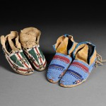 Cheyenne Beaded Hide Youth's Moccasins (Estimate $800-$1,200) and Lakota   Beaded Hide Moccasins (Estimate $600-$800)