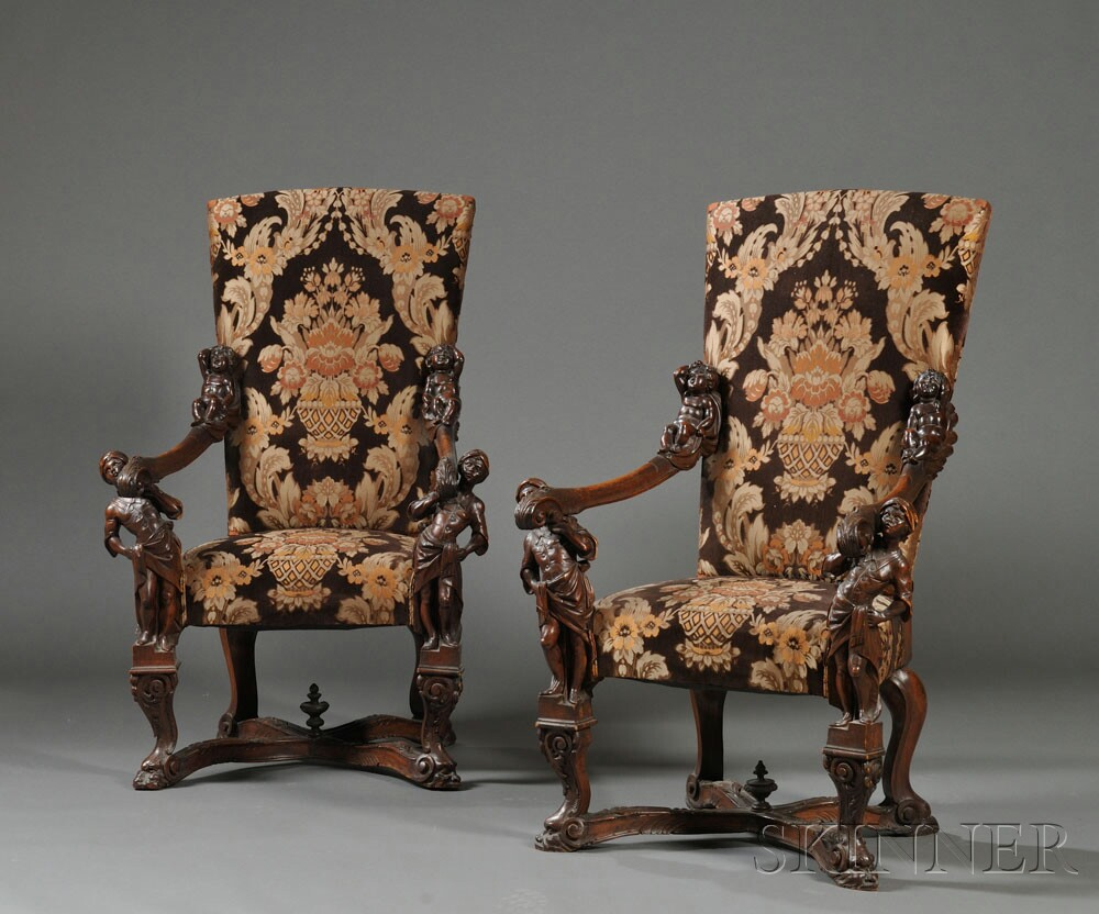 Pair Of Venetian Baroque Style Carved Walnut Armchairs (Lot 221, Estimate  $2,000 $4,000) ...