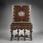 Dutch Colonial Late Baroque-style Silver-mounted Hardwood Cabinet on Stand (Lot 298, Estimate   $10,000-$15,000)