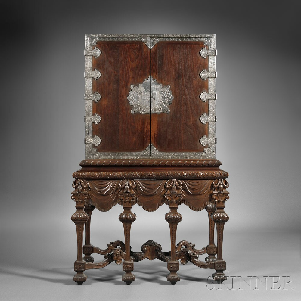Dutch Colonial Late Baroque-style Silver-mounted Hardwood Cabinet on Stand  (Lot 298, Estimate $10,000-$15,000) ... - European Furniture & Decorative Arts Sale 2663B Skinner Auctioneers