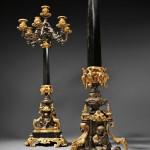 Pair of Neoclassical Seven-light Slate and Parcel-gilt Bronze Candelabra, (Lot 355, Estimate   $3,000-$5,000)
