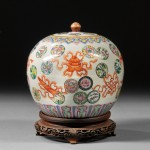 Famille Rose Covered Jar with Iron Red Decorations, China, 20th century (Lot 124, Estimate $300-  $500)