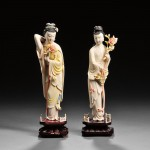 Two Polychrome Ivory Standing Women on Wood Stands, China (Lot 358, Estimate $500-$700)
