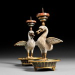 Pair of Cloisonne Candle Holders, China, 20th century (Lot 379, Estimate $500-$700)