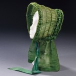 Shirred Green Silk Bonnet with Silk Ribbon Ties, America, 1840-1850