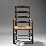 Black-painted Ladder-back Armchair, probably New Hampshire, late 18th century   (Estimate $1,000-$1,500)