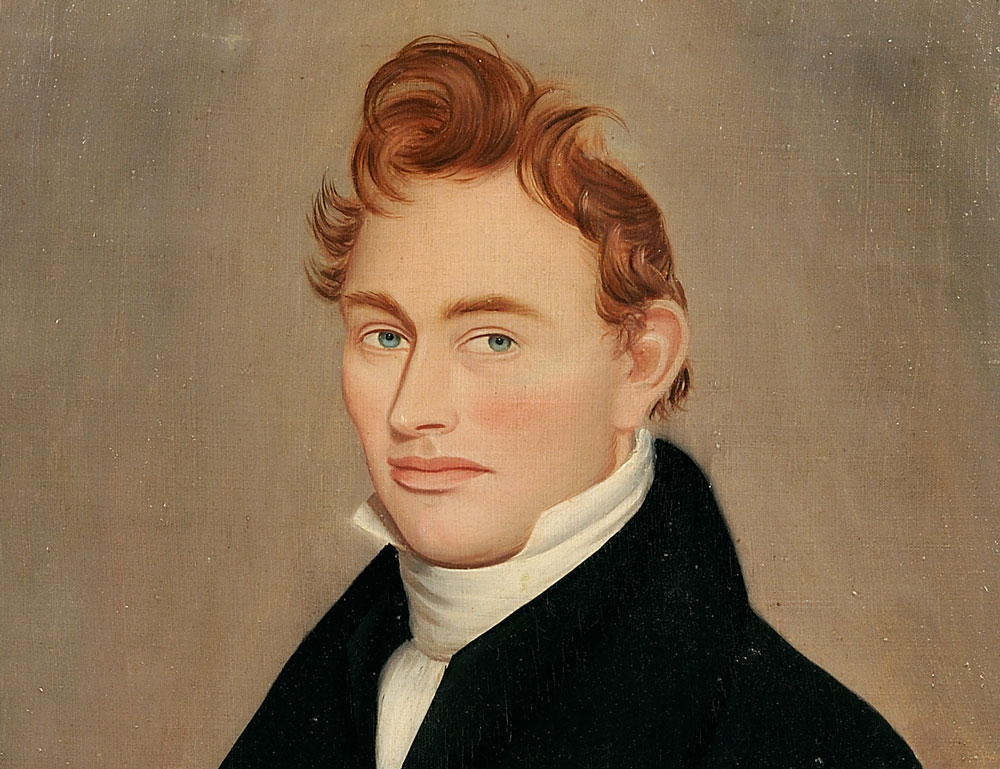 Ammi Phillips (American, 1788-1865)  Portrait of a Ginger-haired Young Man (Estimate $15,000-$25,000)