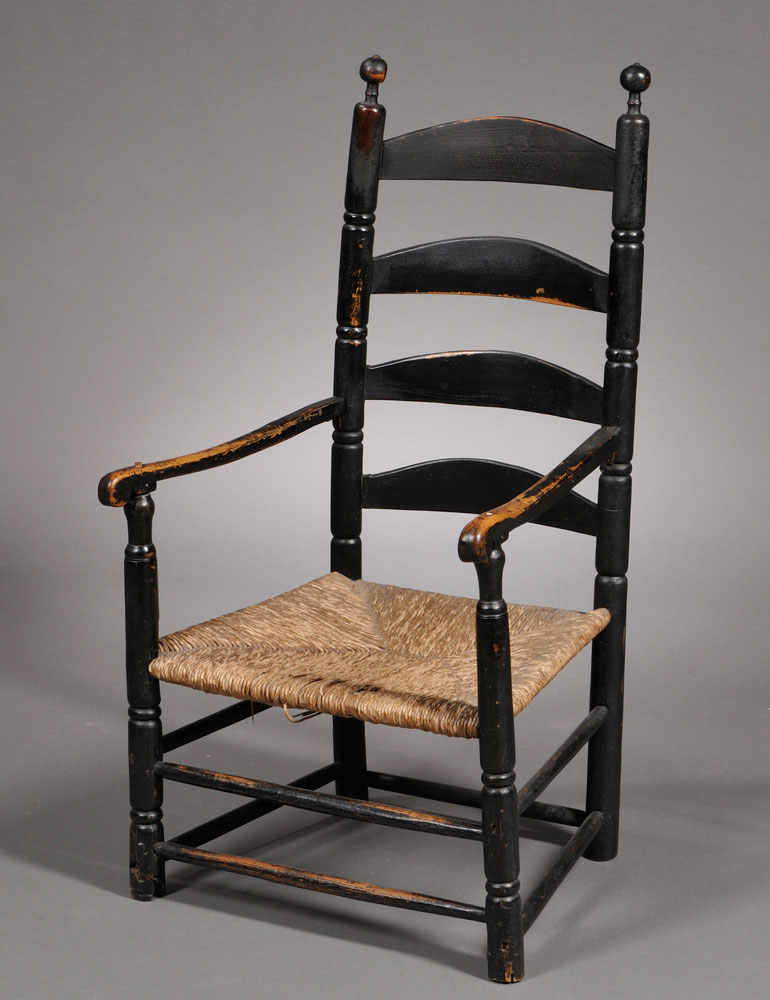 Championing Untouched American Antiques. Black-painted Ladder-back  Armchair, New England, 18th century (Lot 229, Estimate $600-$800) - John T. Kirk I Bought It