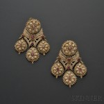 Fine and Rare Pair of Antique Seed Pearl and Ruby Girandole Earpendants, Southern Italy, mid-18th century (Lot 354, Estimate $1,500-$2,000)